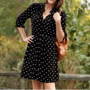Madewell Broadway & Broome black polka dot dress